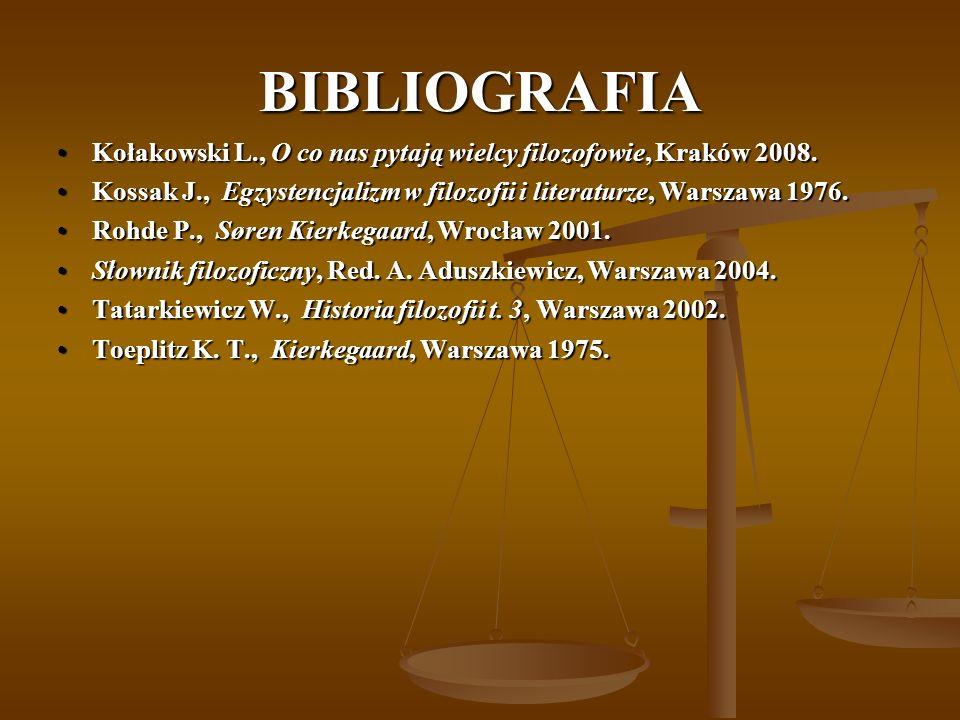 BIBLIOGRAFIA Kołakowski L., O co nas pytają wielcy filozofowie, Kraków 2008.Kołakowski L., O co nas pytają wielcy filozofowie, Kraków 2008. Kossak J.,