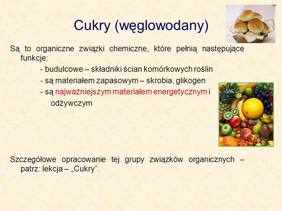 Cukry (węglowodany) Są to organiczne związki chemiczne, które pełnią następujące funkcje: - budulcowe – składniki ścian komórkowych roślin - są materi