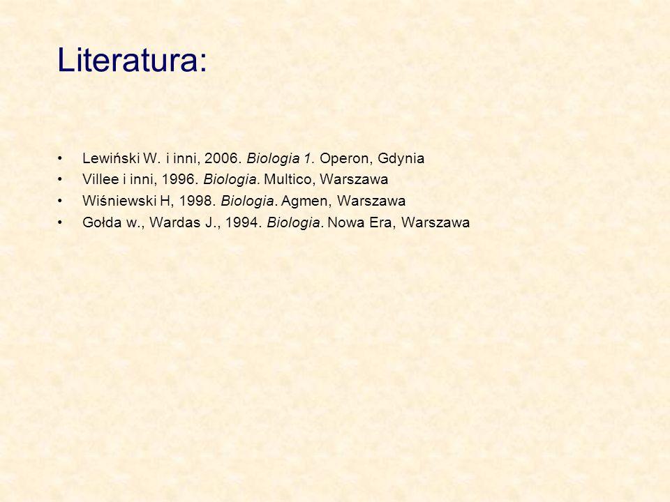 Literatura: Lewiński W. i inni, 2006. Biologia 1. Operon, Gdynia Villee i inni, 1996. Biologia. Multico, Warszawa Wiśniewski H, 1998. Biologia. Agmen,