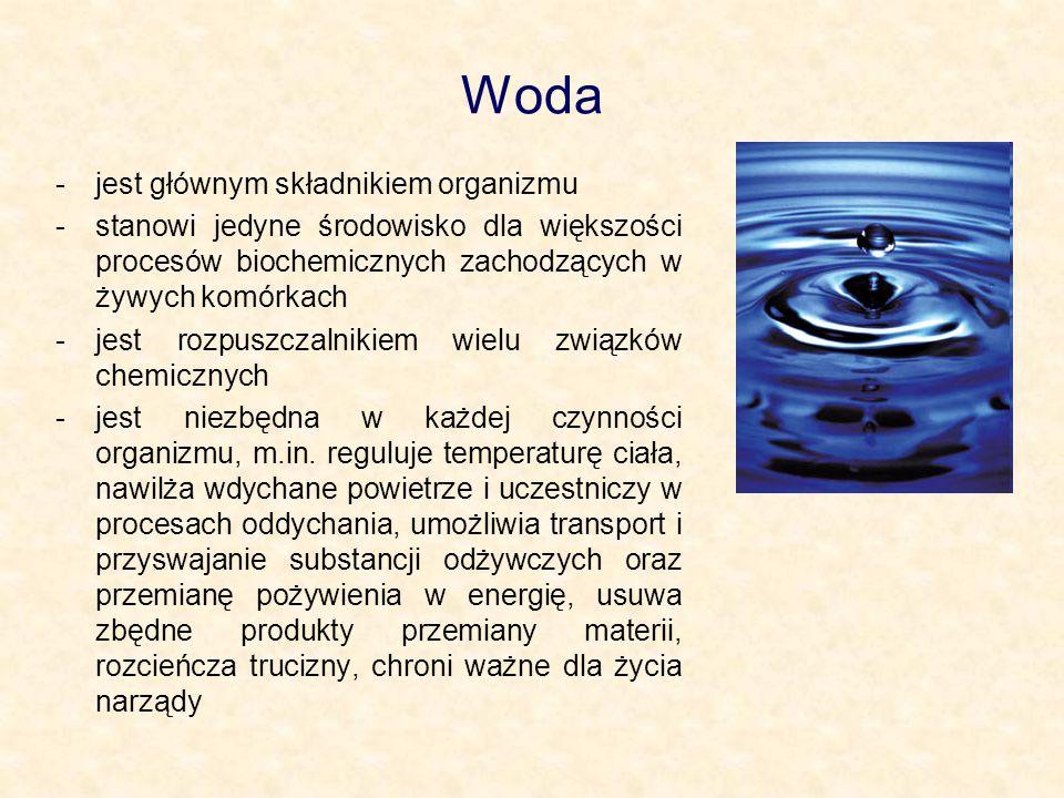 Woda -jest głównym składnikiem organizmu -stanowi jedyne środowisko dla większości procesów biochemicznych zachodzących w żywych komórkach -jest rozpu