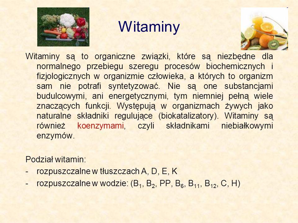 Witaminy są to organiczne związki, które są niezbędne dla normalnego przebiegu szeregu procesów biochemicznych i fizjologicznych w organizmie człowiek