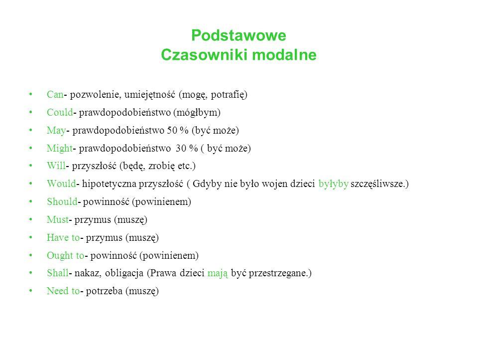 Czasowniki modalne Podstawowe informacje To szczególny rodzaj czasowników posiłkowych (auxiliary verbs).
