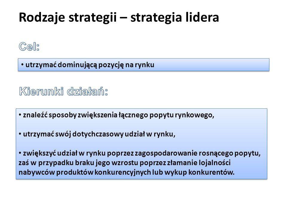 Rodzaje strategii – strategia lidera utrzymać dominującą pozycję na rynku znaleźć sposoby zwiększenia łącznego popytu rynkowego, utrzymać swój dotychc
