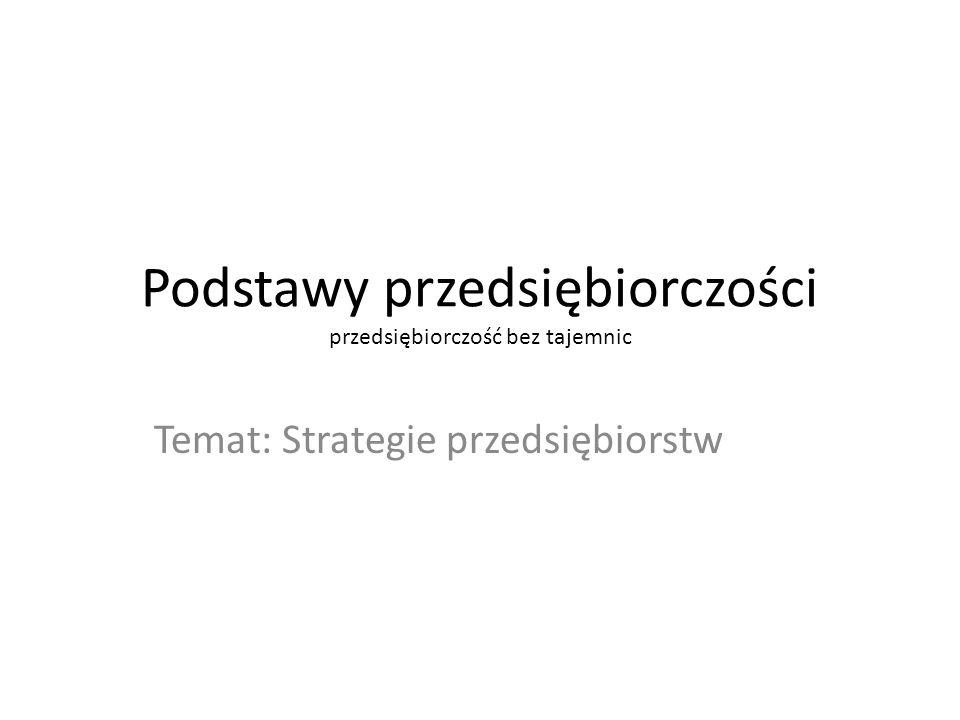 Podstawy przedsiębiorczości przedsiębiorczość bez tajemnic Temat: Strategie przedsiębiorstw