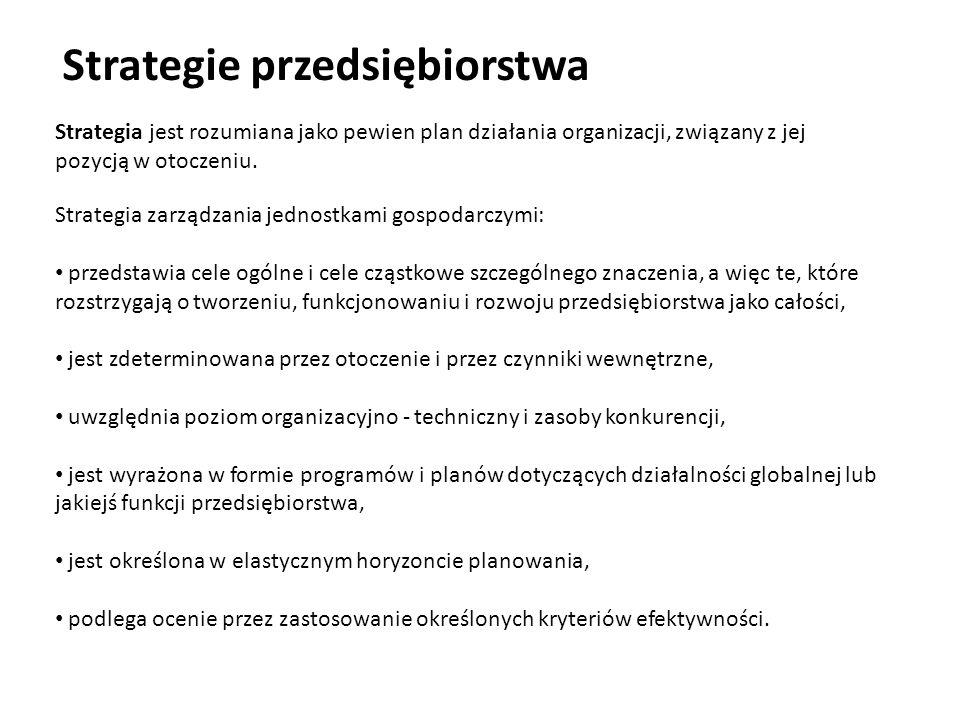 Strategie przedsiębiorstwa Strategia jest rozumiana jako pewien plan działania organizacji, związany z jej pozycją w otoczeniu. Strategia zarządzania