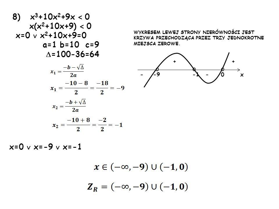 8) x 3 +10x 2 +9x < 0 x(x 2 +10x+9) < 0 x=0 x 2 +10x+9=0 a=1 b=10 c=9 =100-36=64 x=0 x=-9 x=-1 ooo 0-9 ++ --x WYKRESEM LEWEJ STRONY NIERÓWNOŚCI JEST K