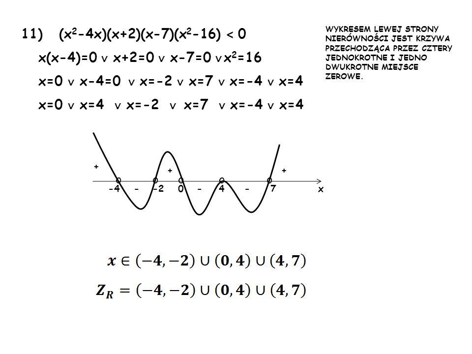 11) (x 2 -4x)(x+2)(x-7)(x 2 -16) < 0 x(x-4)=0 x+2=0 x-7=0 x 2 =16 x=0 x-4=0 x=-2 x=7 x=-4 x=4 x=0 x=4 x=-2 x=7 x=-4 x=4 -40-2 + + --74- + x WYKRESEM L