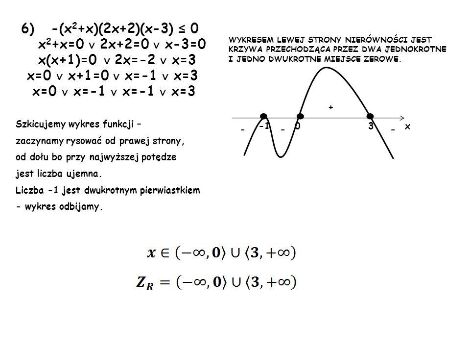 7) -4(x 2 -1)(x 2 +5x+4) > 0 x 2 -1=0 x 2 +5x+4=0 x 2 =1 a=1 b=5 c=4 x=-1 x=1 =25-16=9 x=-1 x=1 x=-4 x=-1 1-4 + + -- ooo x WYKRESEM LEWEJ STRONY NIERÓWNOŚCI JEST KRZYWA PRZECHODZĄCA PRZEZ DWA JEDNOKROTNE I JEDNO DWUKROTNE MIEJSCE ZEROWE.