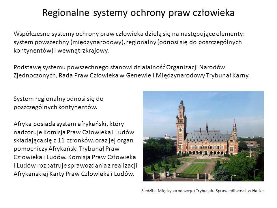 Współczesne systemy ochrony praw człowieka dzielą się na następujące elementy: system powszechny (międzynarodowy), regionalny (odnosi się do poszczegó