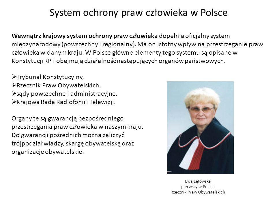 System ochrony praw człowieka w Polsce Wewnątrz krajowy system ochrony praw człowieka dopełnia oficjalny system międzynarodowy (powszechny i regionaln