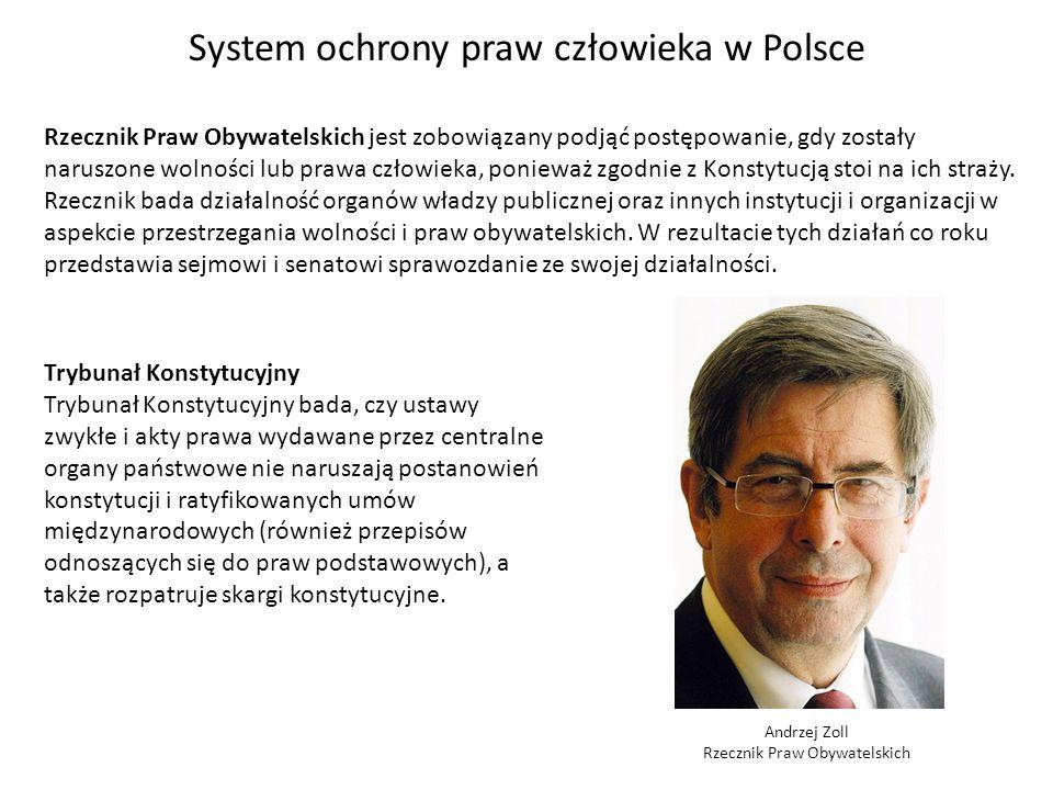 System ochrony praw człowieka w Polsce Rzecznik Praw Obywatelskich jest zobowiązany podjąć postępowanie, gdy zostały naruszone wolności lub prawa czło