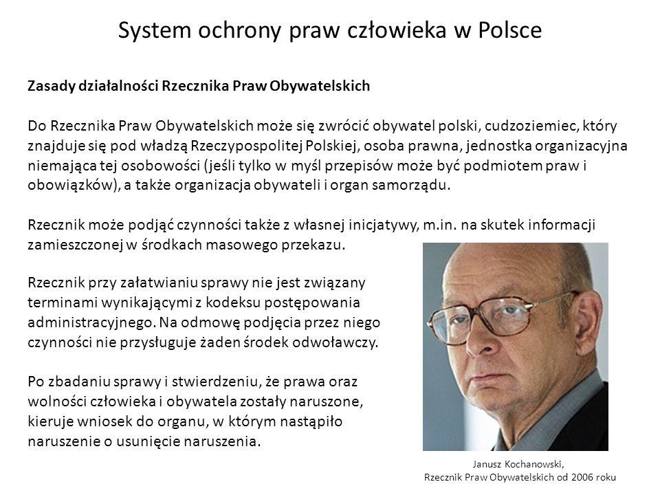System ochrony praw człowieka w Polsce Zasady działalności Rzecznika Praw Obywatelskich Do Rzecznika Praw Obywatelskich może się zwrócić obywatel pols