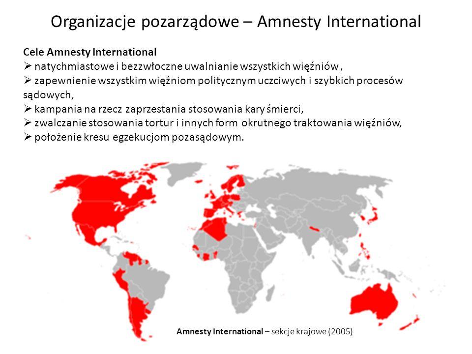 Amnesty International – sekcje krajowe (2005) Cele Amnesty International natychmiastowe i bezzwłoczne uwalnianie wszystkich więźniów, zapewnienie wszy