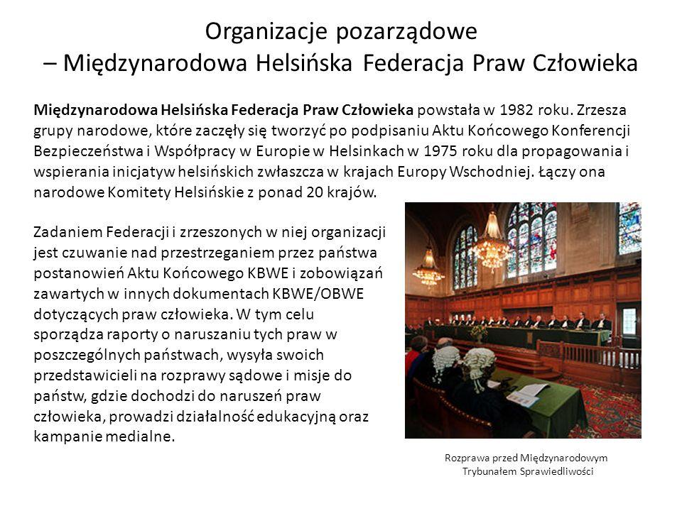 Organizacje pozarządowe – Międzynarodowa Helsińska Federacja Praw Człowieka Międzynarodowa Helsińska Federacja Praw Człowieka powstała w 1982 roku. Zr