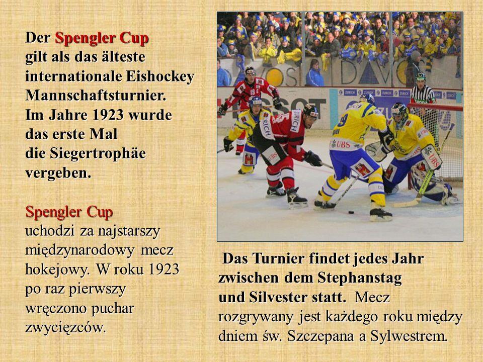 Der Spengler Cup gilt als das älteste internationale Eishockey Mannschaftsturnier. Im Jahre 1923 wurde das erste Mal die Siegertrophäe vergeben. Speng