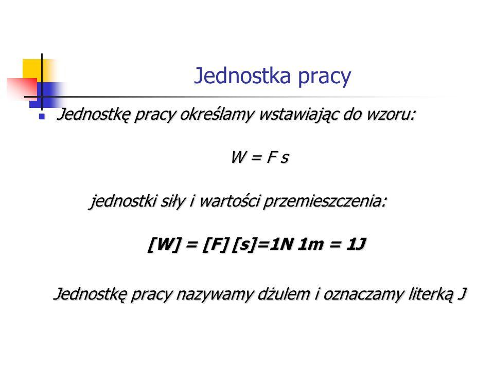 Jednostka pracy Jednostkę pracy określamy wstawiając do wzoru: Jednostkę pracy określamy wstawiając do wzoru: W = F s W = F s jednostki siły i wartości przemieszczenia: jednostki siły i wartości przemieszczenia: [W] = [F] [s]=1N 1m = 1J Jednostkę pracy nazywamy dżulem i oznaczamy literką J Jednostkę pracy nazywamy dżulem i oznaczamy literką J