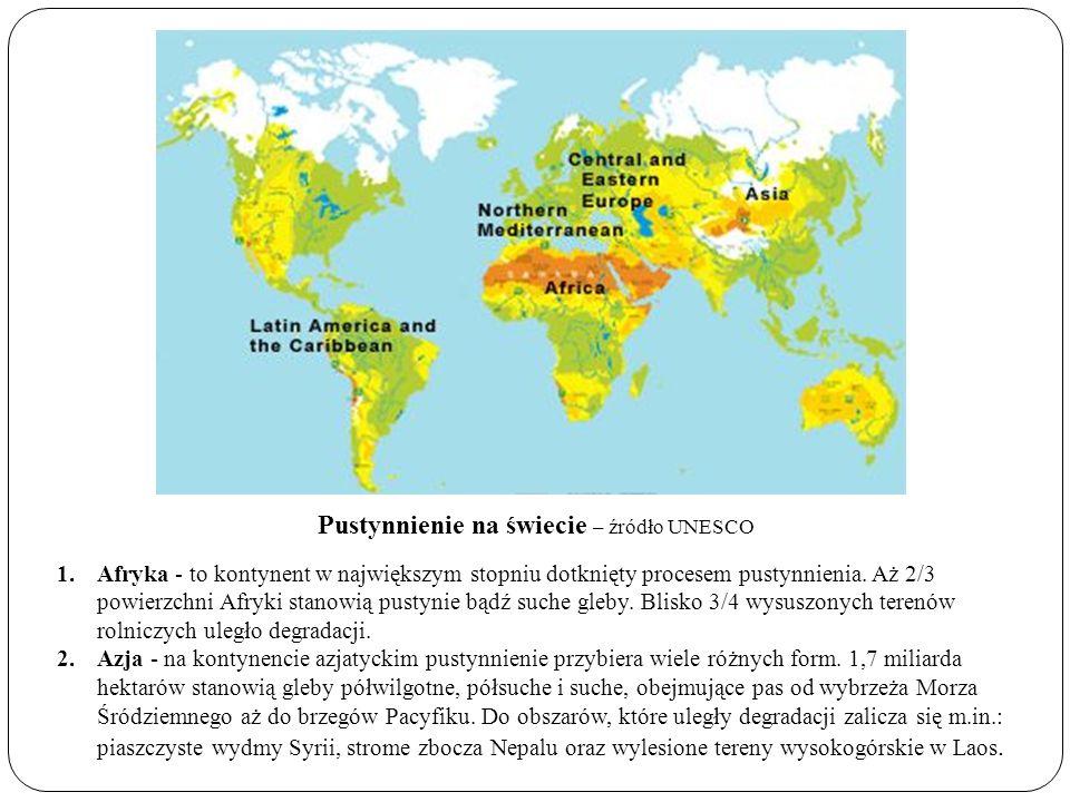 Pustynnienie na świecie – źródło UNESCO 1.Afryka - to kontynent w największym stopniu dotknięty procesem pustynnienia. Aż 2/3 powierzchni Afryki stano