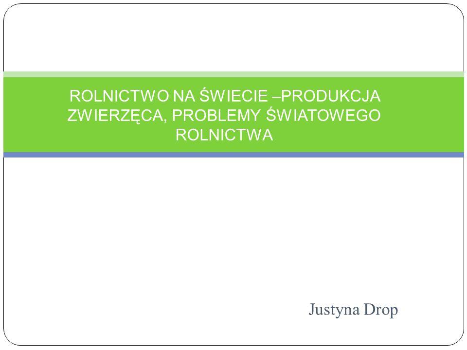 Justyna Drop ROLNICTWO NA ŚWIECIE –PRODUKCJA ZWIERZĘCA, PROBLEMY ŚWIATOWEGO ROLNICTWA