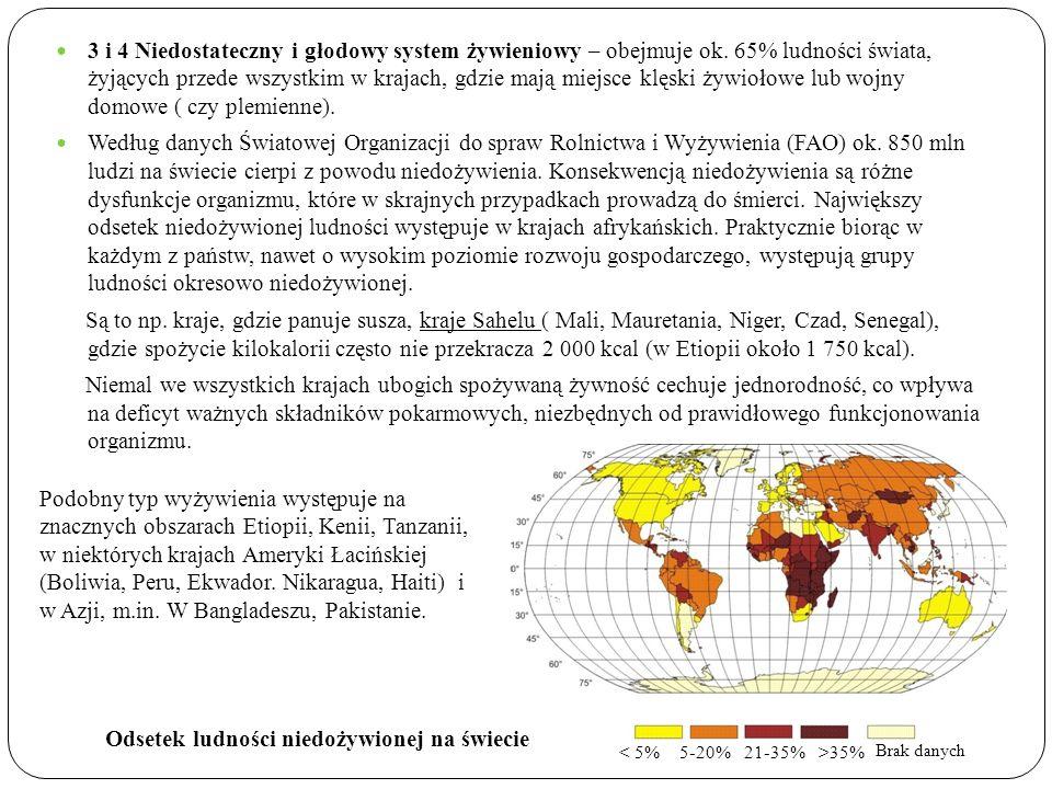 3 i 4 Niedostateczny i głodowy system żywieniowy – obejmuje ok. 65% ludności świata, żyjących przede wszystkim w krajach, gdzie mają miejsce klęski ży
