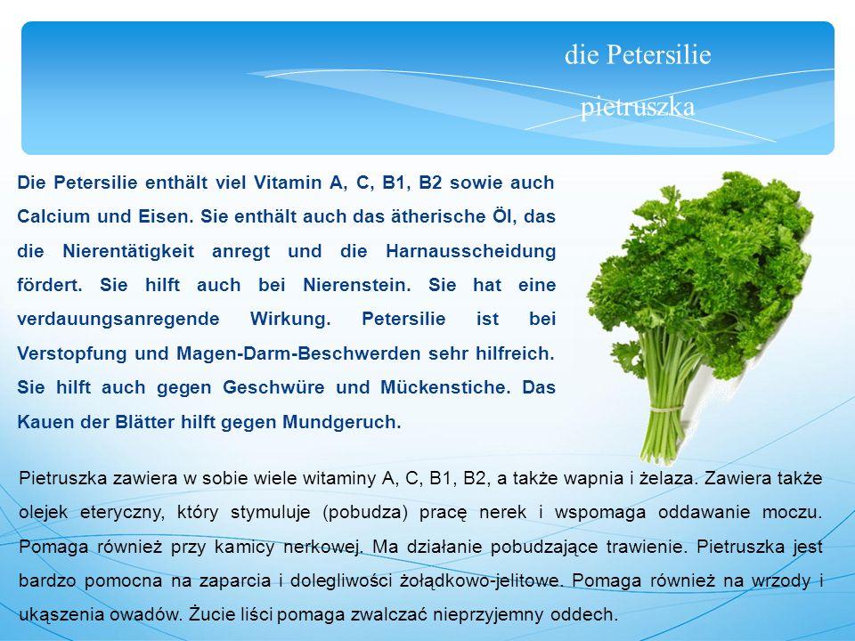 die Petersilie pietruszka Die Petersilie enthält viel Vitamin A, C, B1, B2 sowie auch Calcium und Eisen.