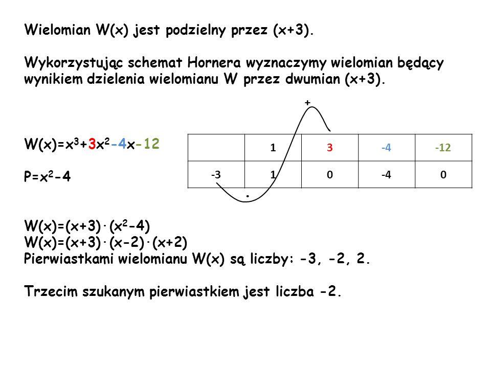Wielomian W(x) jest podzielny przez (x+3). Wykorzystując schemat Hornera wyznaczymy wielomian będący wynikiem dzielenia wielomianu W przez dwumian (x+