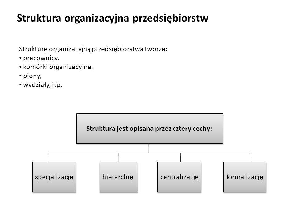 Struktura organizacyjna przedsiębiorstw Strukturę organizacyjną przedsiębiorstwa tworzą: pracownicy, komórki organizacyjne, piony, wydziały, itp. Stru