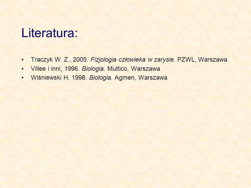 Literatura: Traczyk W. Z., 2005. Fizjologia człowieka w zarysie. PZWL, Warszawa Villee i inni, 1996. Biologia. Multico, Warszawa Wiśniewski H. 1998. B