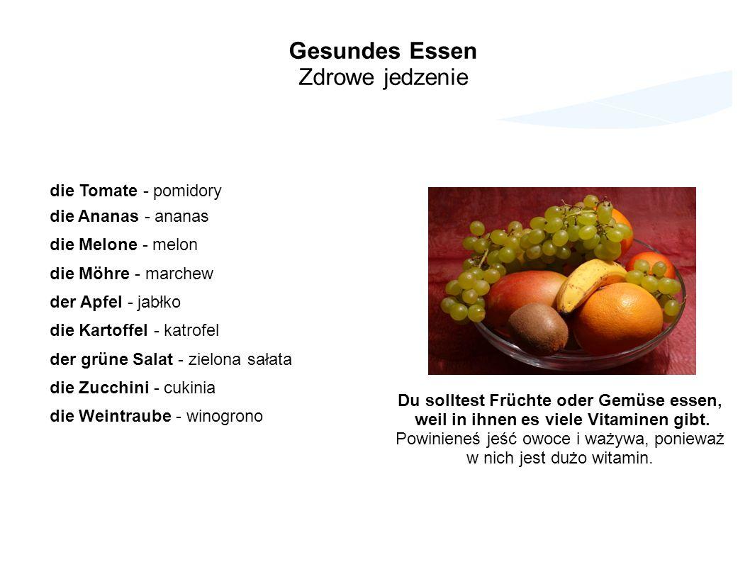 Gesundes Essen Zdrowe jedzenie die Tomate - pomidory die Ananas - ananas die Melone - melon die Möhre - marchew der Apfel - jabłko die Kartoffel - kat