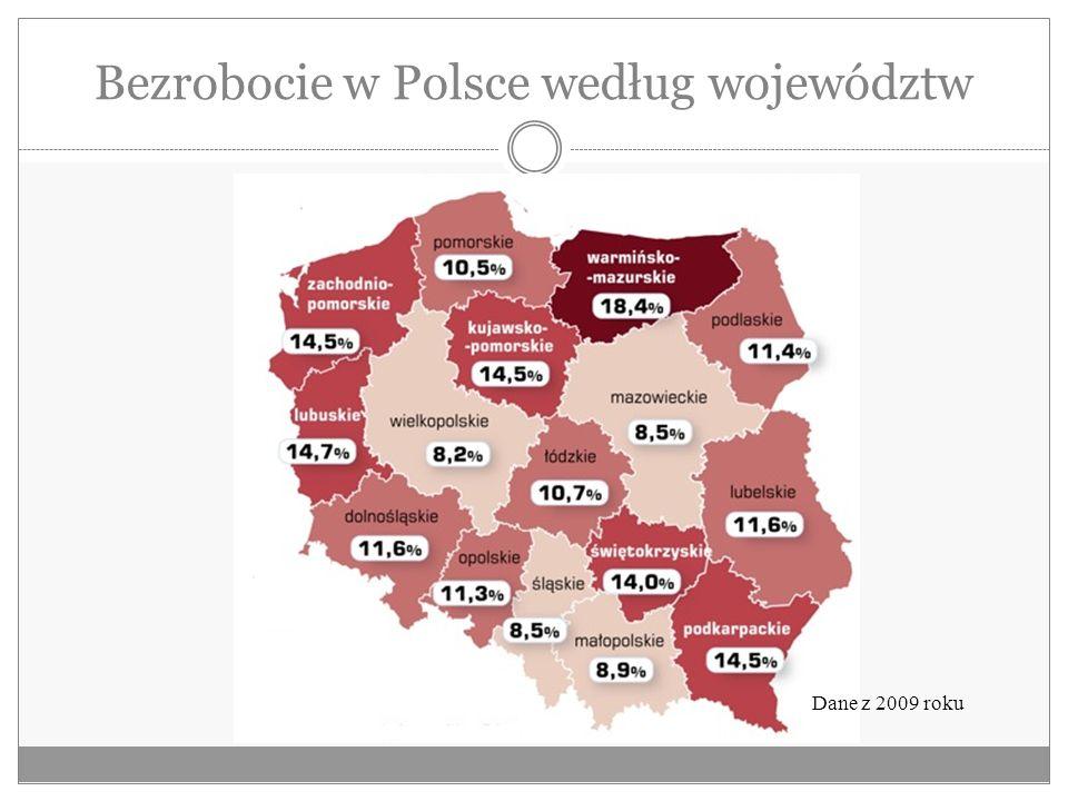 Bezrobocie w Polsce według województw Dane z 2009 roku