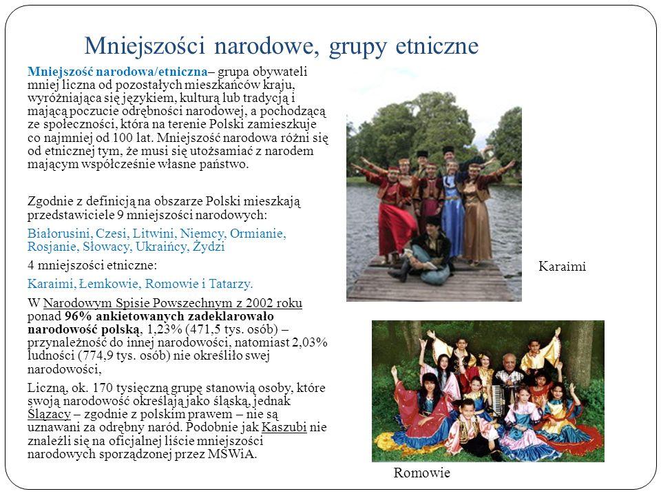 Mniejszości narodowe, grupy etniczne Mniejszość narodowa/etniczna– grupa obywateli mniej liczna od pozostałych mieszkańców kraju, wyróżniająca się jęz