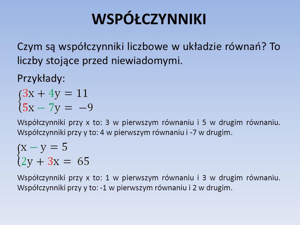 WSPÓŁCZYNNIKI Czym są współczynniki liczbowe w układzie równań? To liczby stojące przed niewiadomymi. Przykłady: Współczynniki przy x to: 3 w pierwszy