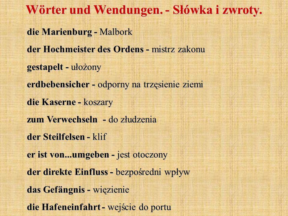 die Marienburg - Malbork der Hochmeister des Ordens - mistrz zakonu gestapelt - ułożony erdbebensicher - odporny na trzęsienie ziemi die Kaserne - kos