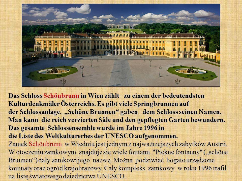 Das Schloss Schönbrunn in Wien zählt zu einem der bedeutendsten Kulturdenkmäler Österreichs. Es gibt viele Springbrunnen auf der Schlossanlage. Schöne
