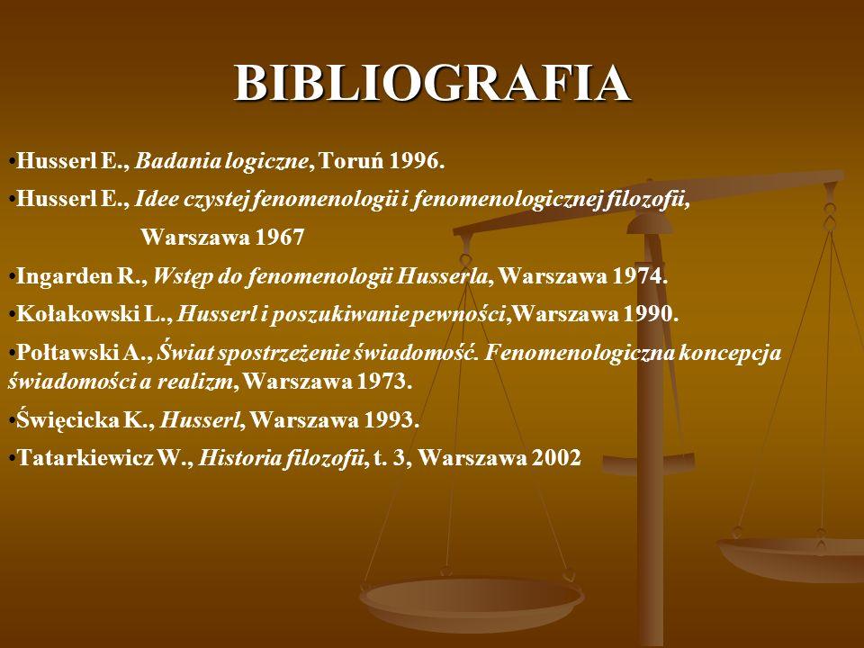 BIBLIOGRAFIA Husserl E., Badania logiczne, Toruń 1996. Husserl E., Idee czystej fenomenologii i fenomenologicznej filozofii, Warszawa 1967 Ingarden R.
