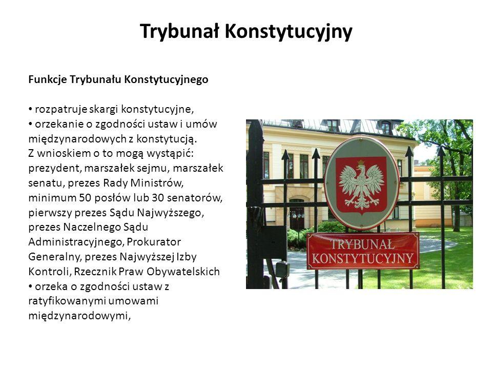 Funkcje Trybunału Konstytucyjnego rozpatruje skargi konstytucyjne, orzekanie o zgodności ustaw i umów międzynarodowych z konstytucją. Z wnioskiem o to