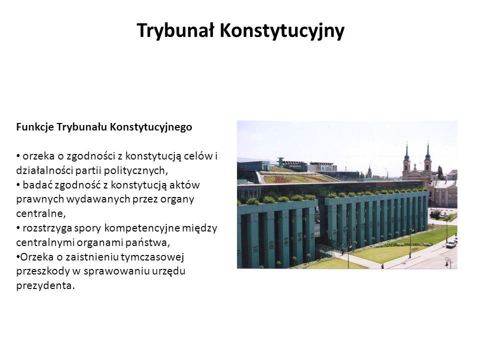 Funkcje Trybunału Konstytucyjnego orzeka o zgodności z konstytucją celów i działalności partii politycznych, badać zgodność z konstytucją aktów prawny