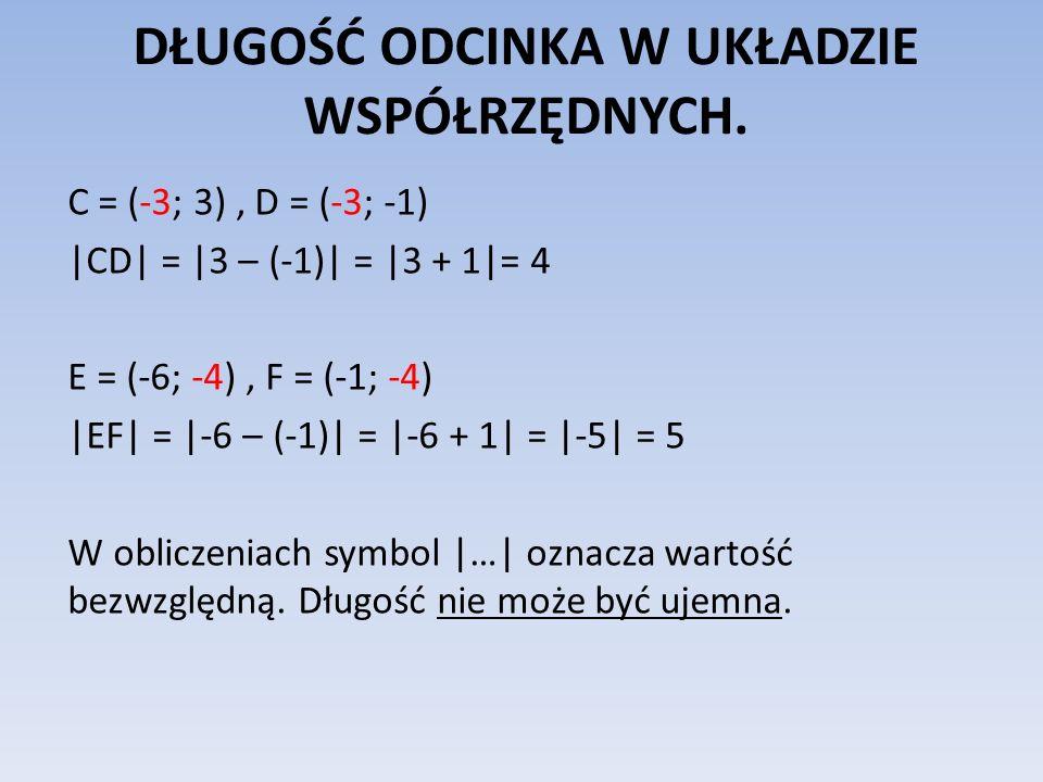 DŁUGOŚĆ ODCINKA W UKŁADZIE WSPÓŁRZĘDNYCH. C = (-3; 3), D = (-3; -1) |CD| = |3 – (-1)| = |3 + 1|= 4 E = (-6; -4), F = (-1; -4) |EF| = |-6 – (-1)| = |-6