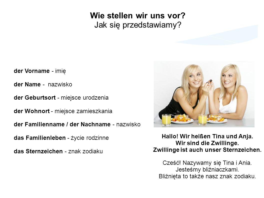 der Vorname - imię der Name - nazwisko der Geburtsort - miejsce urodzenia der Wohnort - miejsce zamieszkania der Familienname / der Nachname - nazwisk
