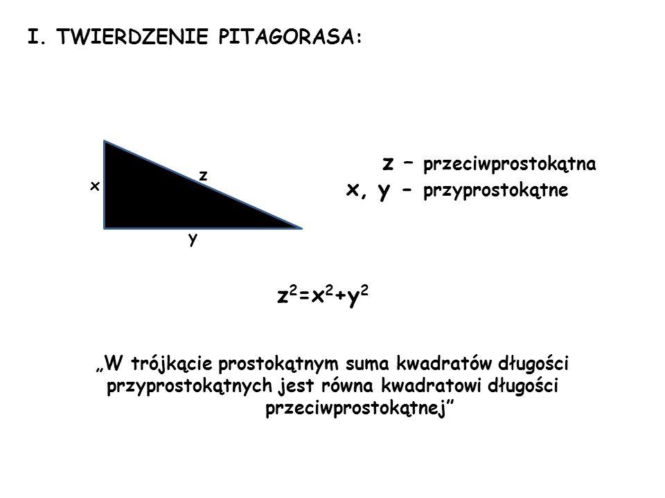 I. TWIERDZENIE PITAGORASA: z – przeciwprostokątna x, y - przyprostokątne z 2 =x 2 +y 2 W trójkącie prostokątnym suma kwadratów długości przyprostokątn