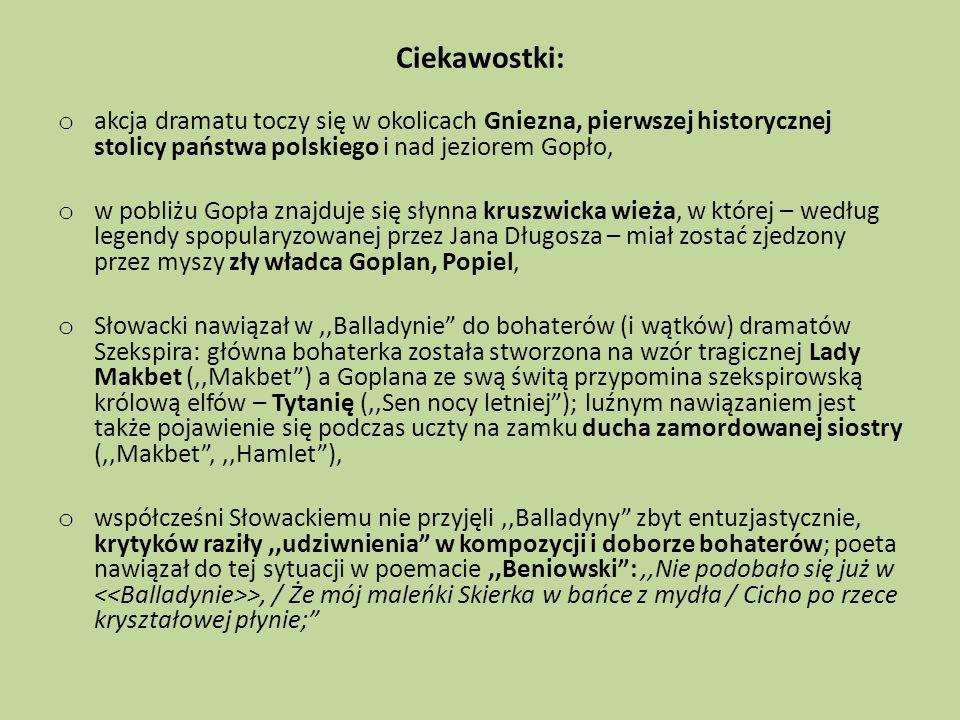 Ciekawostki: o akcja dramatu toczy się w okolicach Gniezna, pierwszej historycznej stolicy państwa polskiego i nad jeziorem Gopło, o w pobliżu Gopła z