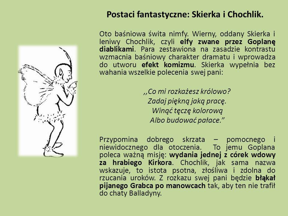 Postaci fantastyczne: Skierka i Chochlik. Oto baśniowa świta nimfy. Wierny, oddany Skierka i leniwy Chochlik, czyli elfy zwane przez Goplanę diablikam