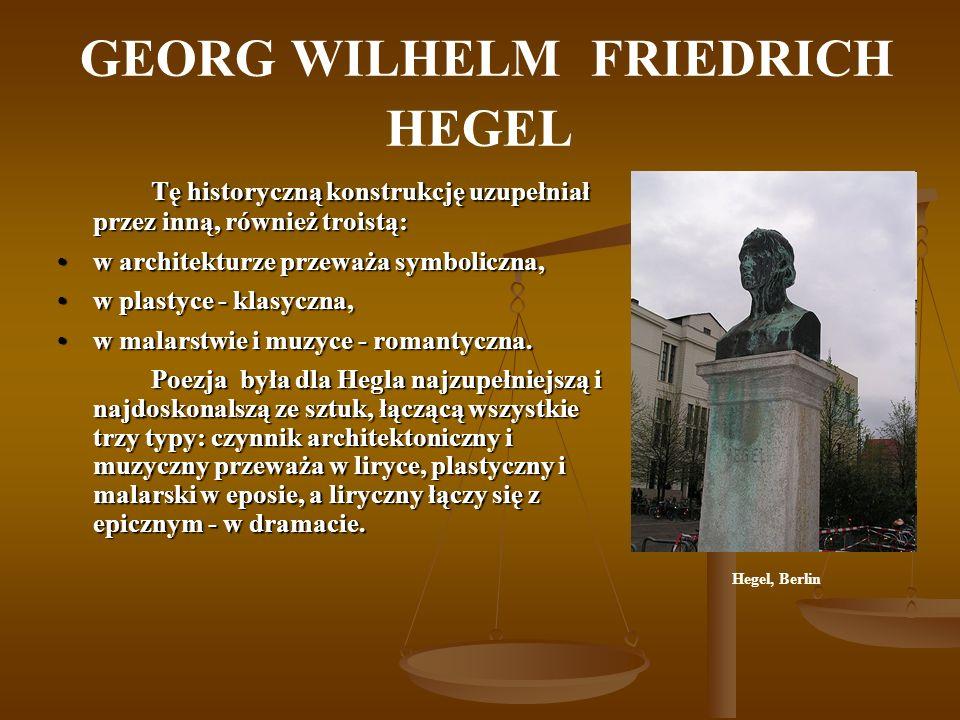 GEORG WILHELM FRIEDRICH HEGEL Tę historyczną konstrukcję uzupełniał przez inną, również troistą: w architekturze przeważa symboliczna,w architekturze
