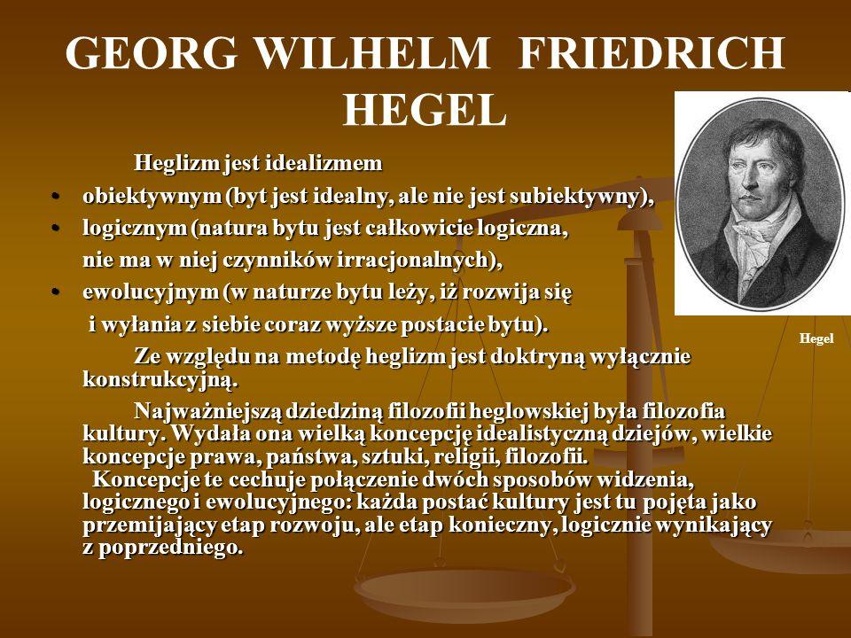 GEORG WILHELM FRIEDRICH HEGEL Heglizm jest idealizmem obiektywnym (byt jest idealny, ale nie jest subiektywny),obiektywnym (byt jest idealny, ale nie