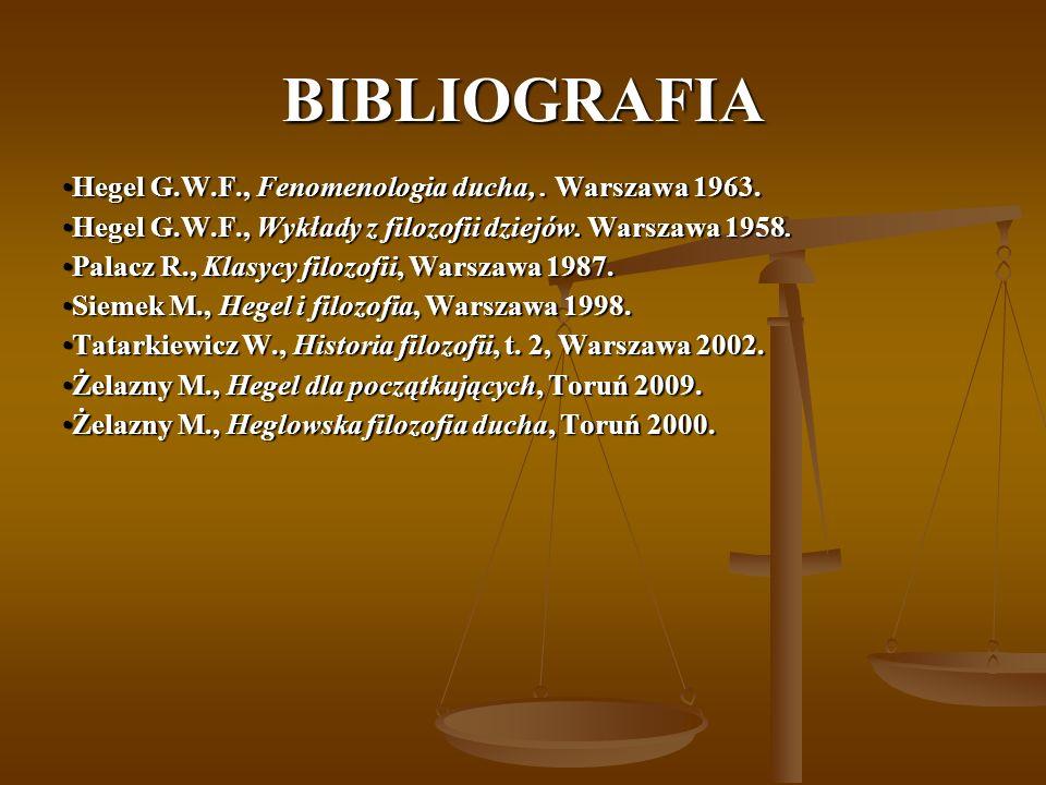 BIBLIOGRAFIA Hegel G.W.F., Fenomenologia ducha,. Warszawa 1963.Hegel G.W.F., Fenomenologia ducha,. Warszawa 1963. Hegel G.W.F., Wykłady z filozofii dz