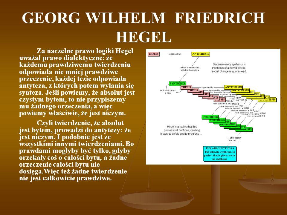 GEORG WILHELM FRIEDRICH HEGEL Za naczelne prawo logiki Hegel uważał prawo dialektyczne: że każdemu prawdziwemu twierdzeniu odpowiada nie mniej prawdzi