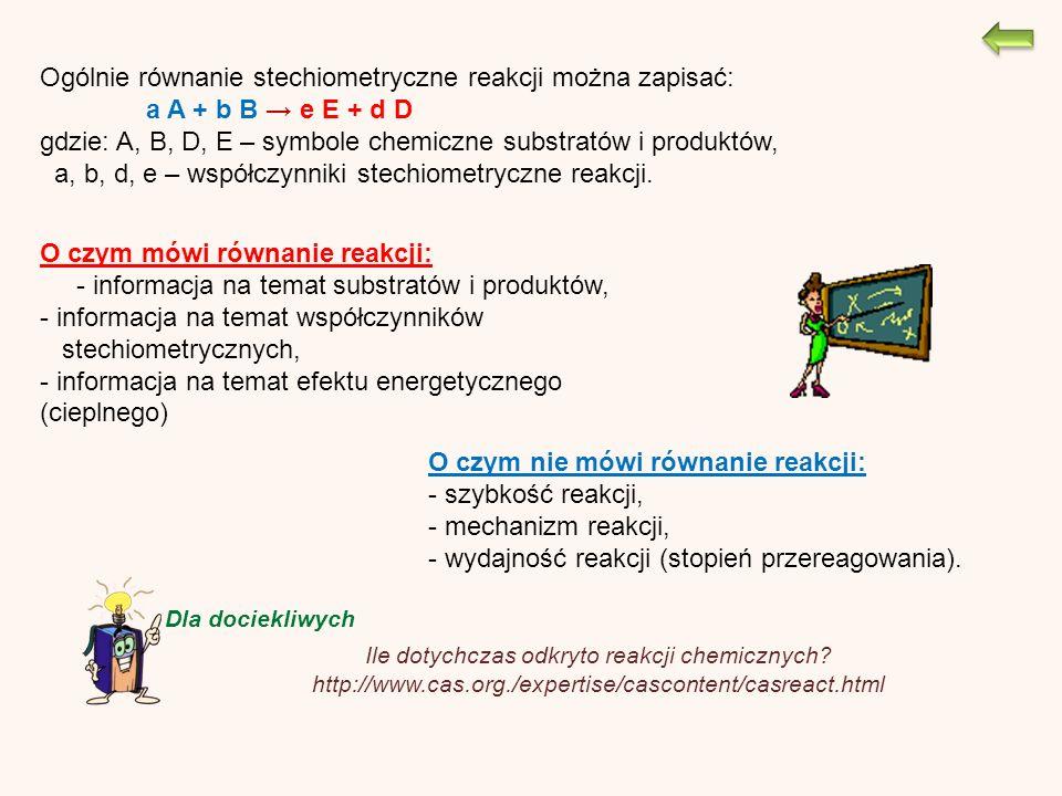 O czym mówi równanie reakcji: - informacja na temat substratów i produktów, - informacja na temat współczynników stechiometrycznych, - informacja na temat efektu energetycznego (cieplnego) O czym nie mówi równanie reakcji: - szybkość reakcji, - mechanizm reakcji, - wydajność reakcji (stopień przereagowania).