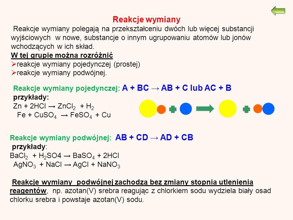 Reakcje wymiany Reakcje wymiany polegają na przekształceniu dwóch lub więcej substancji wyjściowych w nowe, substancje o innym ugrupowaniu atomów lub jonów wchodzących w ich skład.