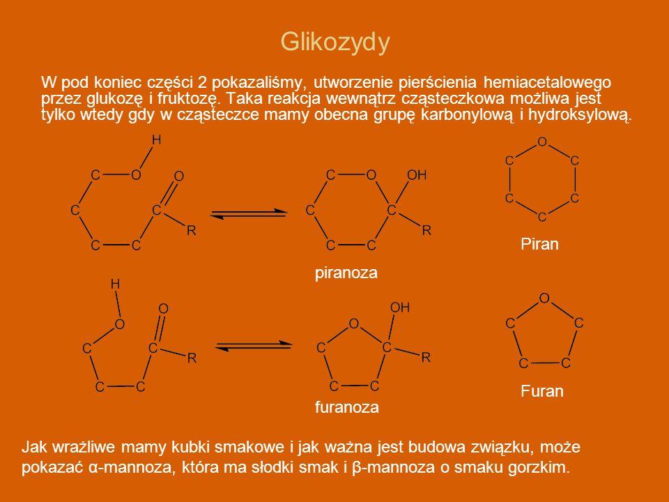 Glikozydy W pod koniec części 2 pokazaliśmy, utworzenie pierścienia hemiacetalowego przez glukozę i fruktozę. Taka reakcja wewnątrz cząsteczkowa możli