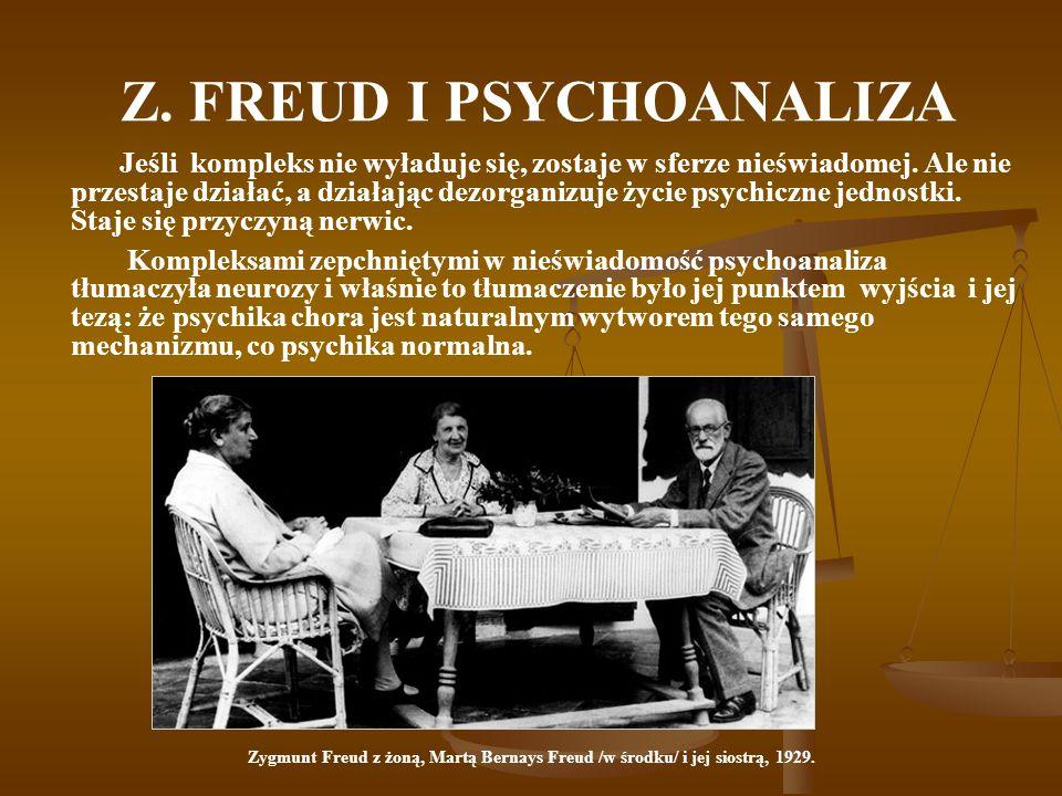 Z. FREUD I PSYCHOANALIZA Jeśli kompleks nie wyładuje się, zostaje w sferze nieświadomej. Ale nie przestaje działać, a działając dezorganizuje życie ps