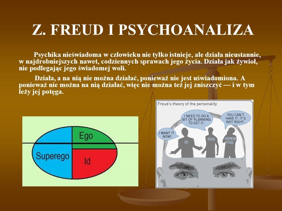 Z. FREUD I PSYCHOANALIZA Psychika nieświadoma w człowieku nie tylko istnieje, ale działa nieustannie, w najdrobniejszych nawet, codziennych sprawach j